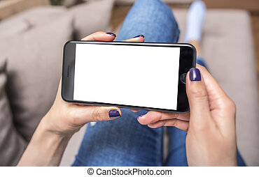 Woman using phone. - Woman using phone with copy space at...