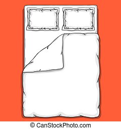 Bed linen template with pillows, duvet cover and sheet.
