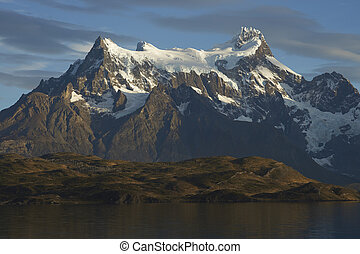 Torres del Paine National Park - Ice covered peaks of Cerro...