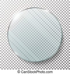 Transparent Round Circle Vector Realistic Illustration. Glass Plate Mock Up Or Plastic Banner. Isolated On Checkered Background. With Reflection And Shadow. Photo Realistic