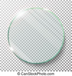 Transparent Round Circle Vector Realistic Illustration. Flat Glass Circle. Glass Plate. Transparency. Lens Flares.