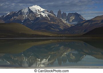 Landscape of Patagonia - Peaks of Torres del Paine reflected...