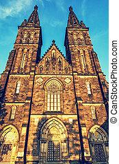 Basilica, Vysehrad, Prague, retro photo filter - Beautiful...