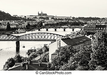 View from the Vysehrad to the castle and river Vltava with bridges, Prague, black and white