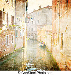 Venezia - canal in Venice, Italy - vintage style