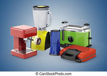 3d set of home appliances
