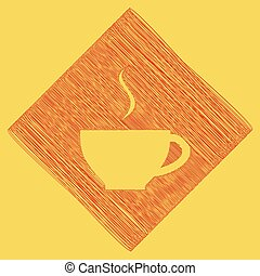 Cup sign with one small stream of smoke. Vector. Red scribble icon obtained as a result of subtraction rhomb and path. Royal yellow background.