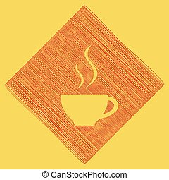 Cup sign with two small streams of smoke. Vector. Red scribble icon obtained as a result of subtraction rhomb and path. Royal yellow background.