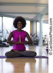 mujer,  yoga, gimnasio, norteamericano, africano, ejercicio