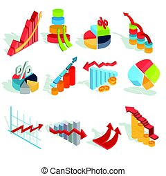 Set of vector isometric infographic graphics, diagrams,...