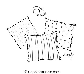 Beautiful pillows and cute little angel. Hand drawing...