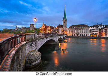 Fraumunster Church and Limmat River in the Morning, Zurich,...