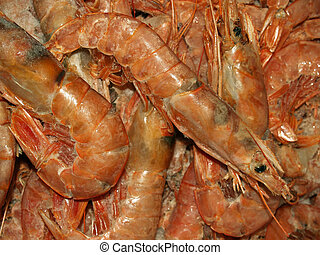 shrimp and frozen foods are a lot on each other