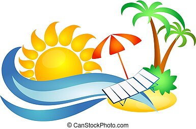 Symbol for travel and recreation. Sun and sea wave, palm...
