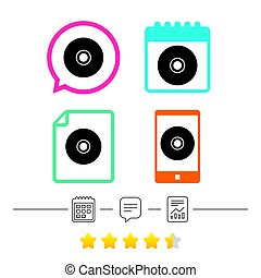 CD or DVD sign icon. Compact disc symbol. Calendar, chat...