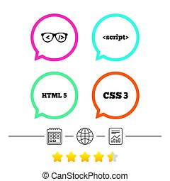 Programmer coder glasses. HTML markup language. - Programmer...
