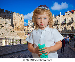Adorable Jewish child in the city of King David - Little boy...