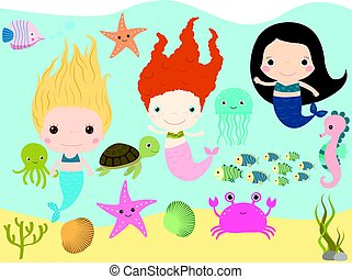 Cute mermaids and sea animals vector collection