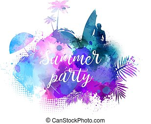 Summer party watercolored background. - Abstract painted...