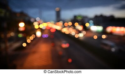 Abstract blurry car light bokeh traffic on the road in...