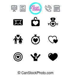 Love, valentine day icons. Target with heart. -...