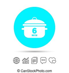 Boil 6 minutes. Cooking pan sign icon. Stew food. - Boil 6...