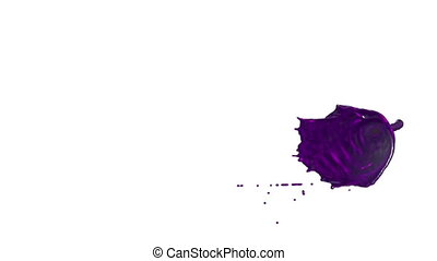 Flow of violet liquid like juice splattering on white...