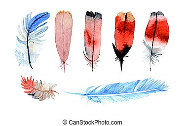 Watercolor feathers hand painted - Watercolor feathers...