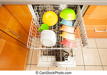 Opened dishwasher with crockery in it's rack - Top view...