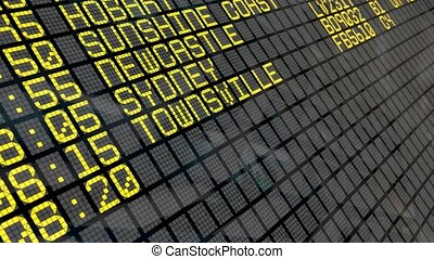 4K - Airport Departure Board with Australian destinations -...