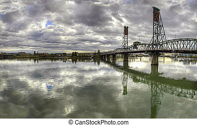 Hawthorne Bridge Over Willamette River Portland Oregon