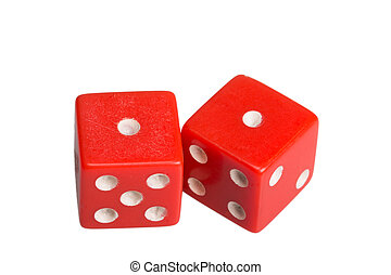 Two dice showing two one