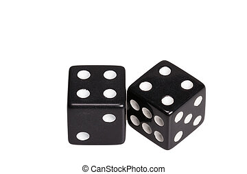 Two dice showing two four