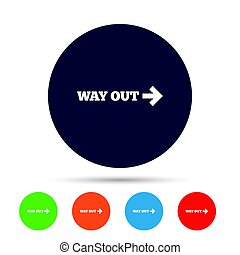 Way out right sign icon. Arrow symbol. Round colourful...