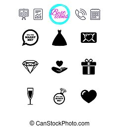Wedding, engagement icons. Love oath letter. - Presentation,...