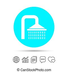 Shower sign icon. Douche with water drops symbol. Copy...