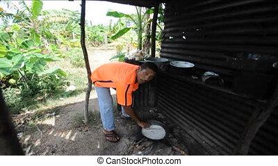 native cooking nicaraguan food - native Nicaragua man sound...