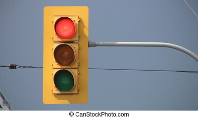 Stop Light turns green - Downtown traffic light changes...