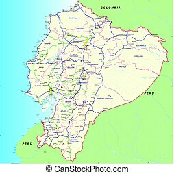 Road and hydro graphical map of Ecuador with the main roads, provincial boundaries, provincial capitals and main cities names - Year 2004 - Vector Image
