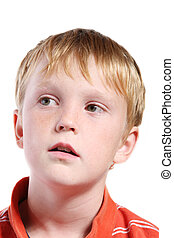 boy with expression - isolated boy with thoughtful...