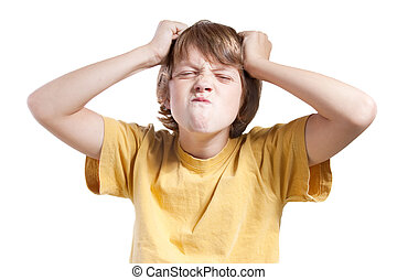 frustrated child - isolated child with frustrated expression
