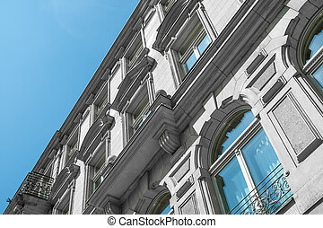 restored facade of old apartment building in Berlin