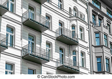 apartment building facade Berlin, - restored building facade...