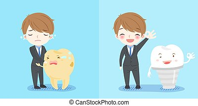 businessman with tooth