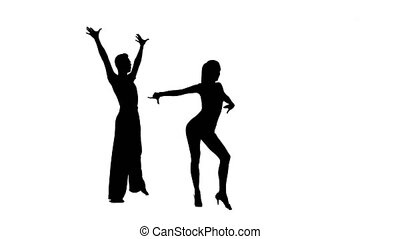 Silhouette pair professional dancers perform rumba on white...