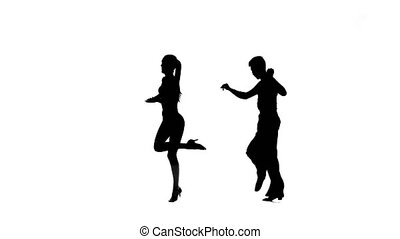 Salsa in perform silhouette couple professional dancers on...
