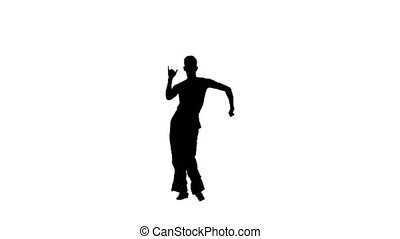 Dance element from the salsa program, silhouette on white...