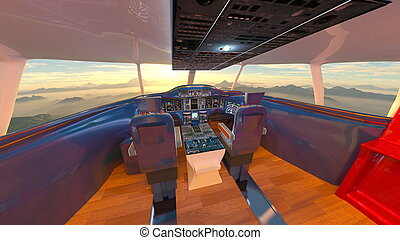 Cockpit - 3D CG rendering of the cockpit.