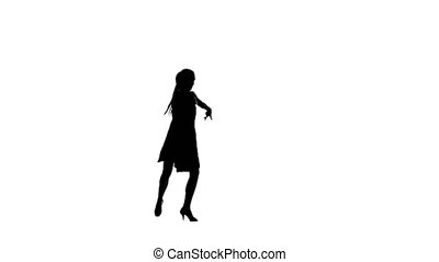 Silhouette of girl performing samba dance. White background,...