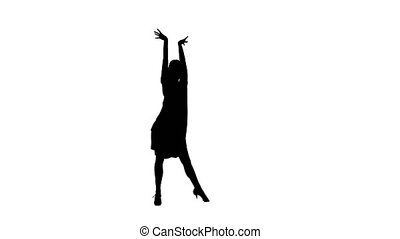 Silhouette of woman performing rumba dance. White background, alpha channel